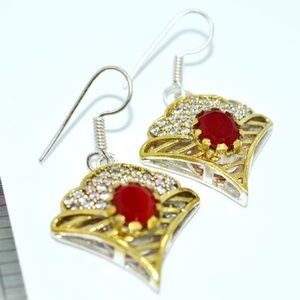 PRETTY TURKISH HAREM RUBY SILVER EARRINGS